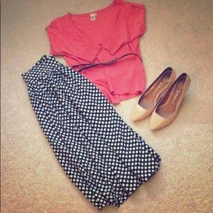 Vintage style polka dot midi skirt